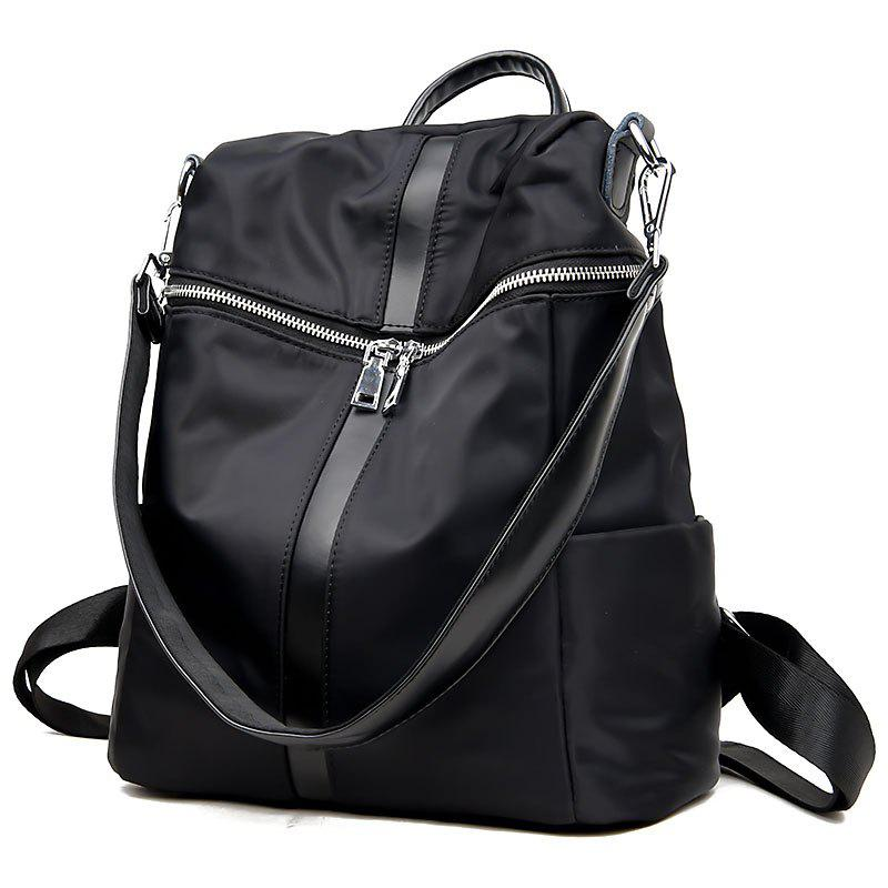 Female Soft Leather Schoolbag Fashion Collocation Amphibious Travel Bag Backpack - BLACK 32 X 16 X 34