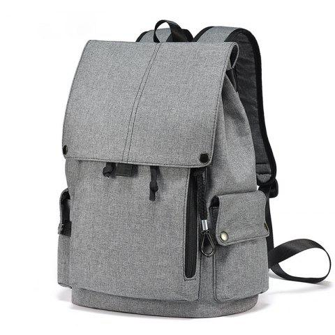 Student Bag Canvas Travel Backpack Leisure Computer Bag Shoulder Bag - GRAY VERTICAL