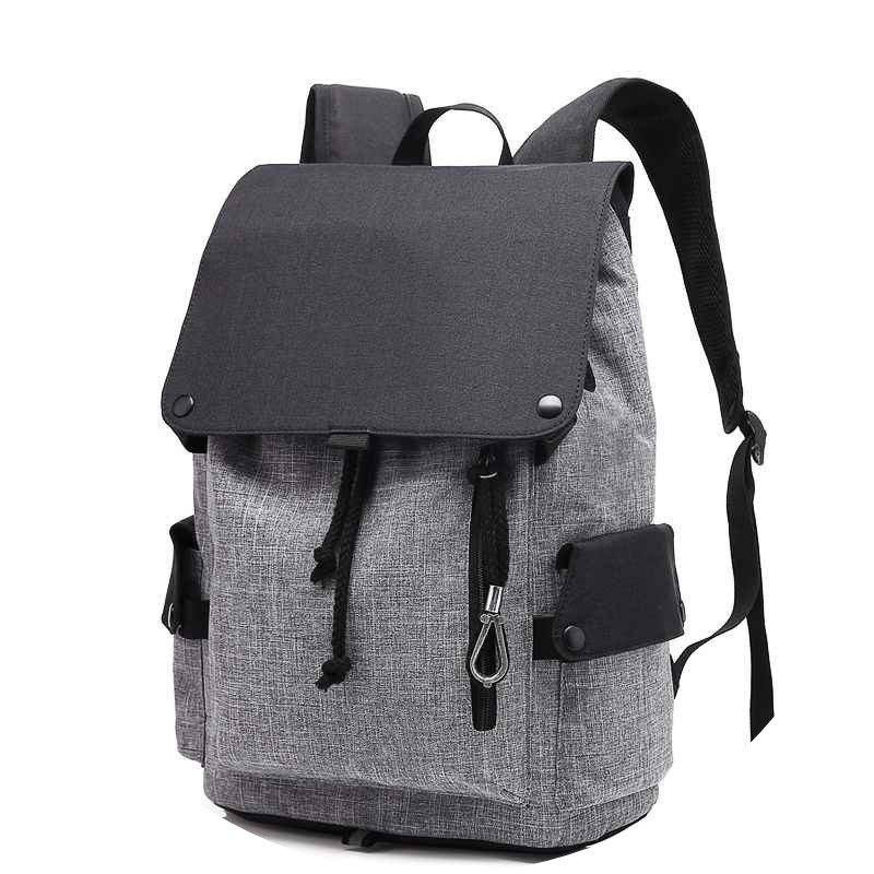 Student Bag Canvas Travel Backpack Leisure Computer Bag Shoulder Bag - BLACK/GRAY VERTICAL