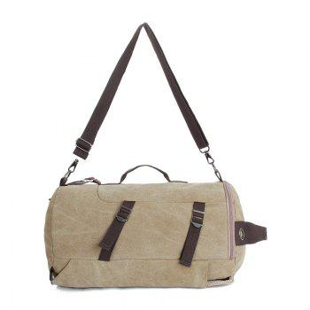 Multifunctional Canvas Shoulder Bag Portable Travel Bag Messenger Casual  Cackpack Drum Backpack Computer Bag school bag - KHAKI VERTICAL