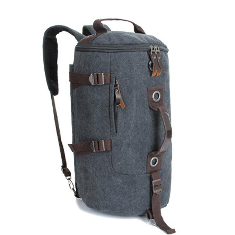 Multifunctional Canvas Shoulder Bag Portable Travel Bag Messenger Casual  Cackpack Drum Backpack Computer Bag school bag - BLACK VERTICAL