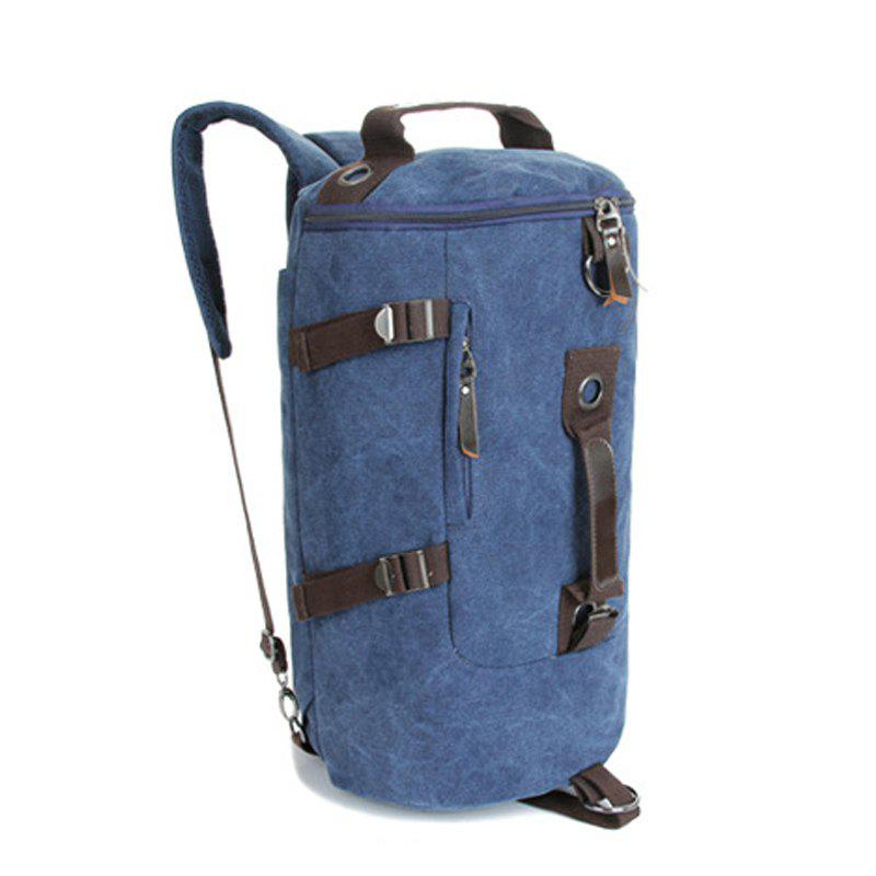 Multifunctional Canvas Shoulder Bag Portable Travel Bag Messenger Casual  Cackpack Drum Backpack Computer Bag school bag - BLUE VERTICAL