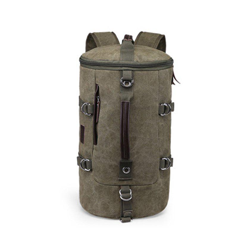 Multifunctional Canvas Shoulder Bag Portable Travel Bag Messenger Casual  Cackpack Drum Backpack Computer Bag school bag - ARMYGREEN VERTICAL