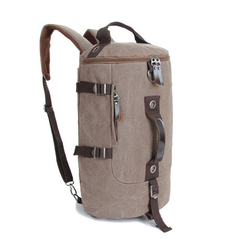 Multifunctional Canvas Shoulder Bag Portable Travel Bag Messenger Casual  Cackpack Drum Backpack Computer Bag school bag - BROWNIE VERTICAL