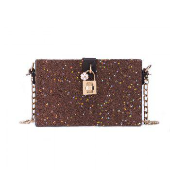 Girl Simple Joker Box Bag Sequined Chain Messenger Shoulder Bag - BROWN BROWN