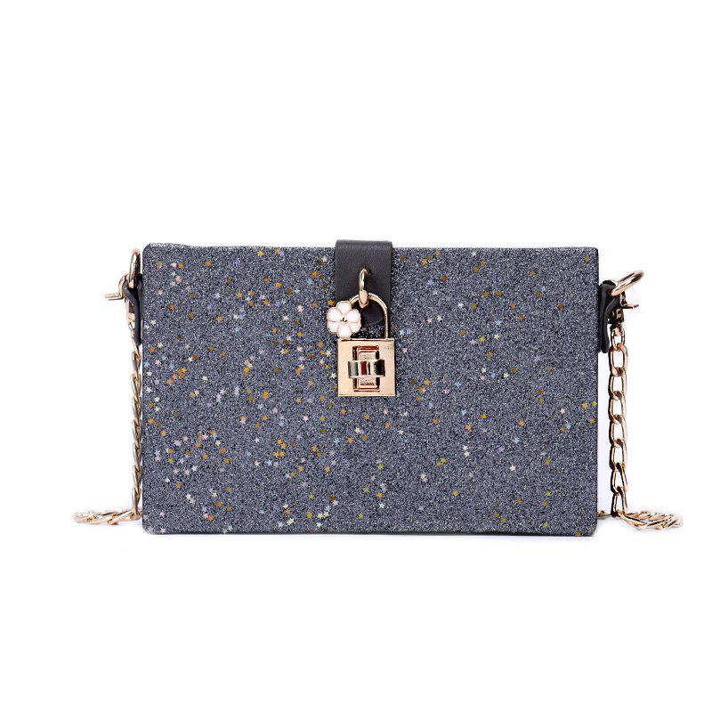 Girl Simple Joker Box Bag Sequined Chain Messenger Shoulder Bag - GRAY
