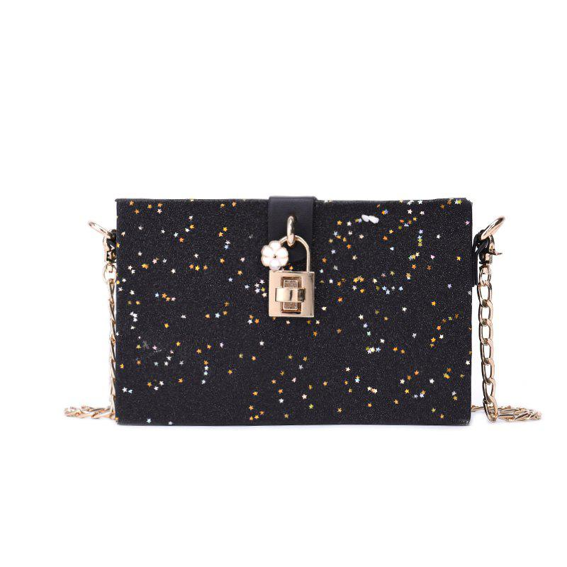 Girl Simple Joker Box Bag Sequined Chain Messenger Shoulder Bag - BLACK
