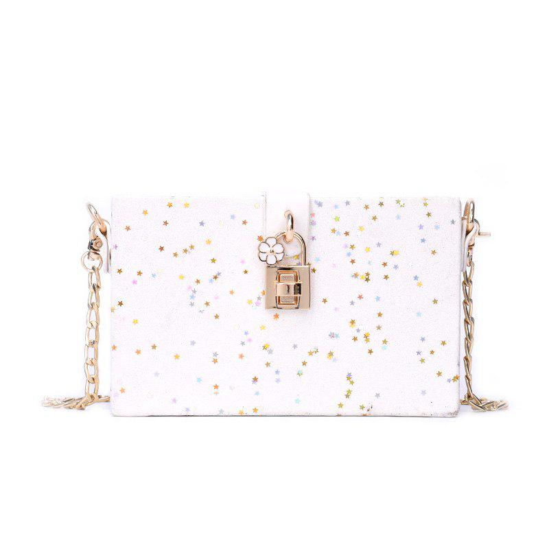 Girl Simple Joker Box Bag Sequined Chain Messenger Shoulder Bag - WHITE