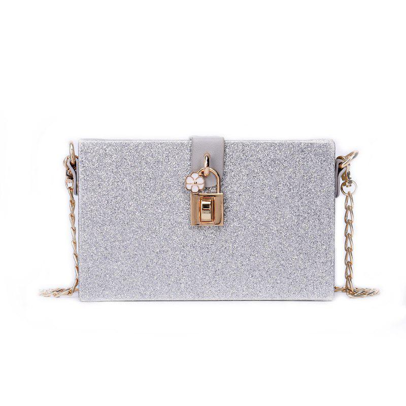 Girl Simple Joker Box Bag Sequined Chain Messenger Shoulder Bag - SILVER