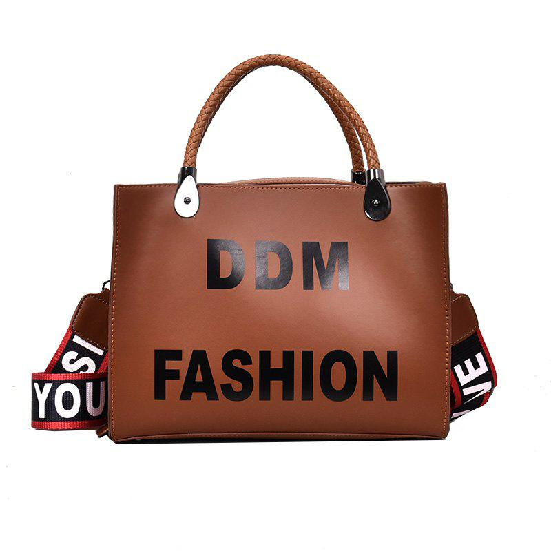 Female Harajuku Tote Bag Simple Wild Fashion Students Messenger Shoulder Bag - BROWN