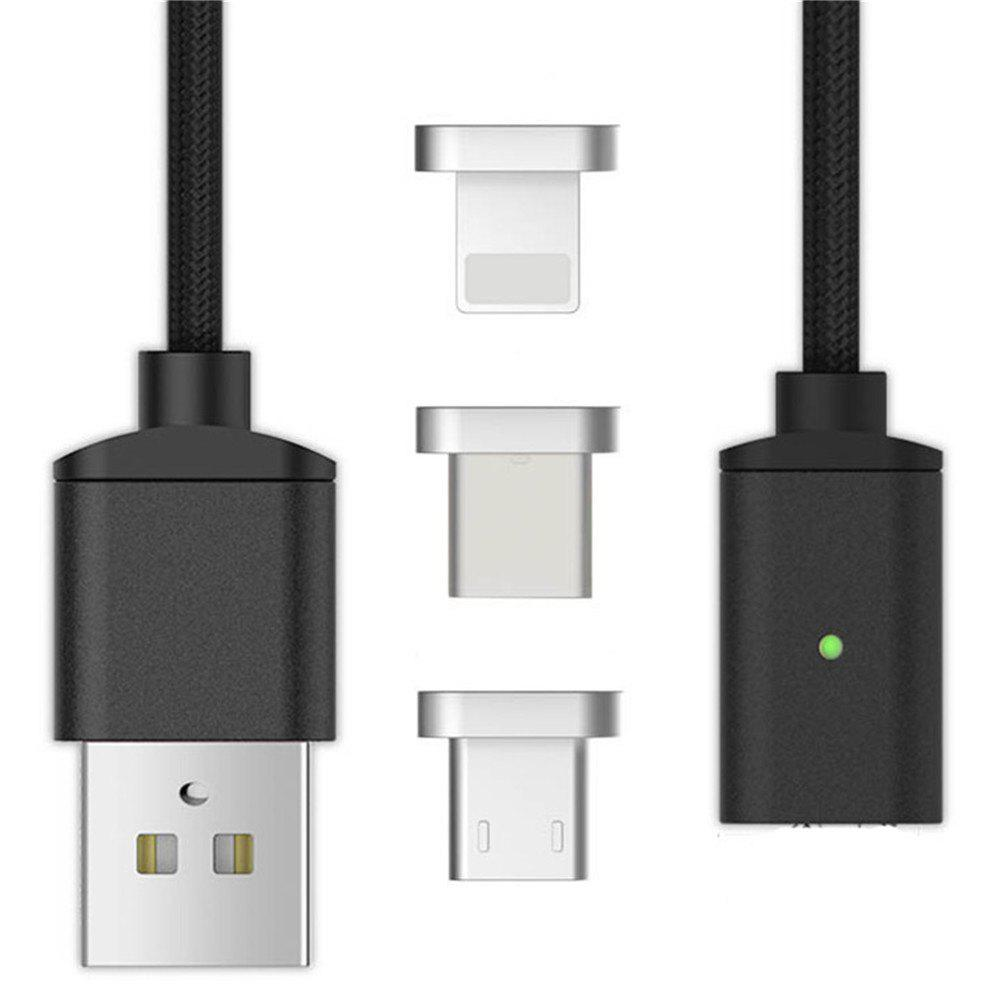 1M 3 in 1 8 Pin Type-C Micro USB Magnetic Suction Cable - BLACK