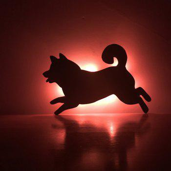 Colorful Remote Running Dog Shadow Projection Lamp LED  Night Light - BLACK 182X116MM