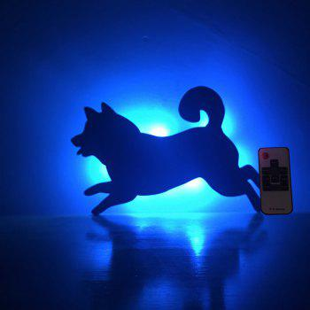 Colorful Remote Running Dog Shadow Projection Lamp LED  Night Light - BLACK BLACK
