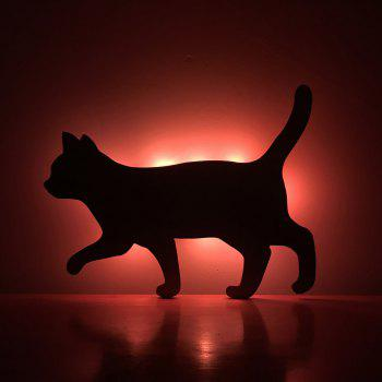 Colorful Remote Walk The Cat Shadow Projection Lamp LED  Night Light - BLACK BLACK