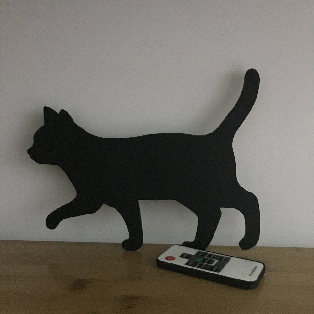 Colorful Remote Walk The Cat Shadow Projection Lamp LED  Night Light - BLACK 215X165MM