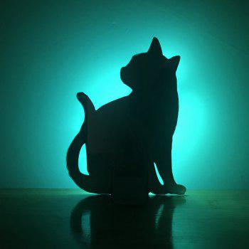 Colorful Remote  Cat Shadow Projection Lamp LED  Night Light - BLACK BLACK