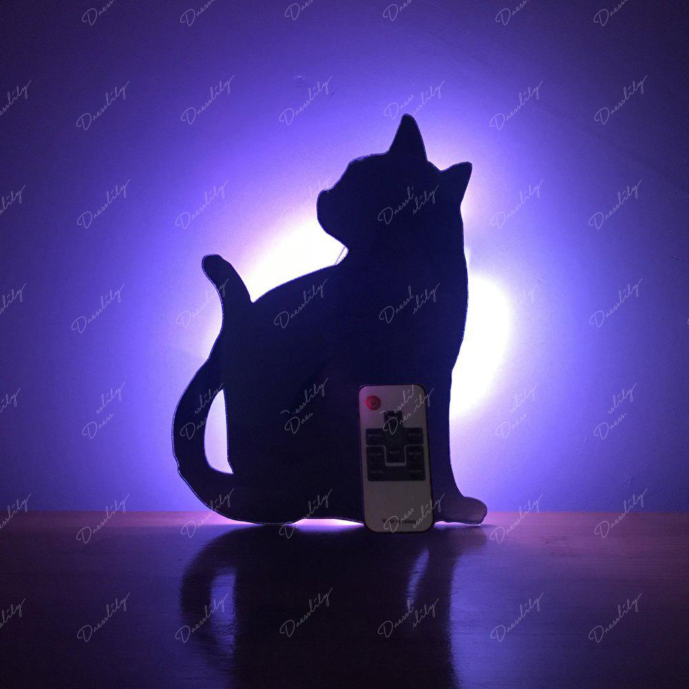 Colorful Remote  Cat Shadow Projection Lamp LED  Night Light - BLACK 135X175MM