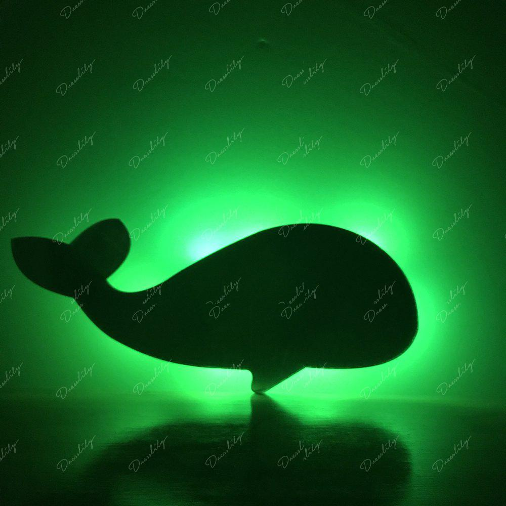 Colorful Remote The Whale Shadow Projection Lamp LED  Night Light - BLACK 226X95MM