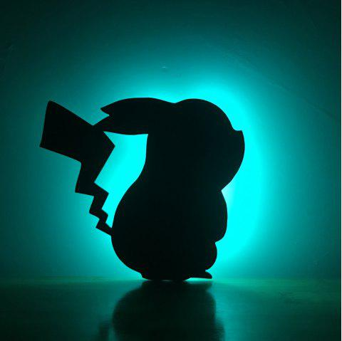 Colorful Remote Pikachu Shadow Projection Lamp LED  Night Light - BLACK 170X155MM