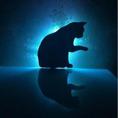 Colorful Remote Lick The Hair Cat Shadow Projection Lamp LED  Night Light - BLACK 165X145MM