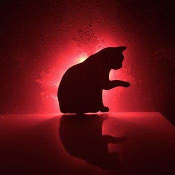 Colorful Remote Lick The Hair Cat Shadow Projection Lamp LED  Night Light - BLACK BLACK