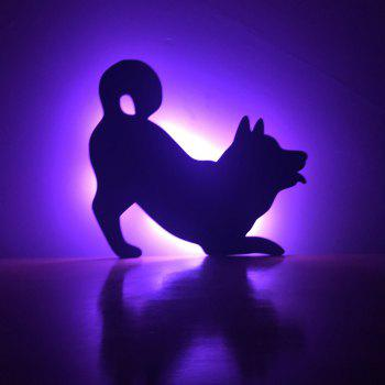 Colorful Remote Dog Shadow Projection Lamp LED  Night Light - BLACK BLACK