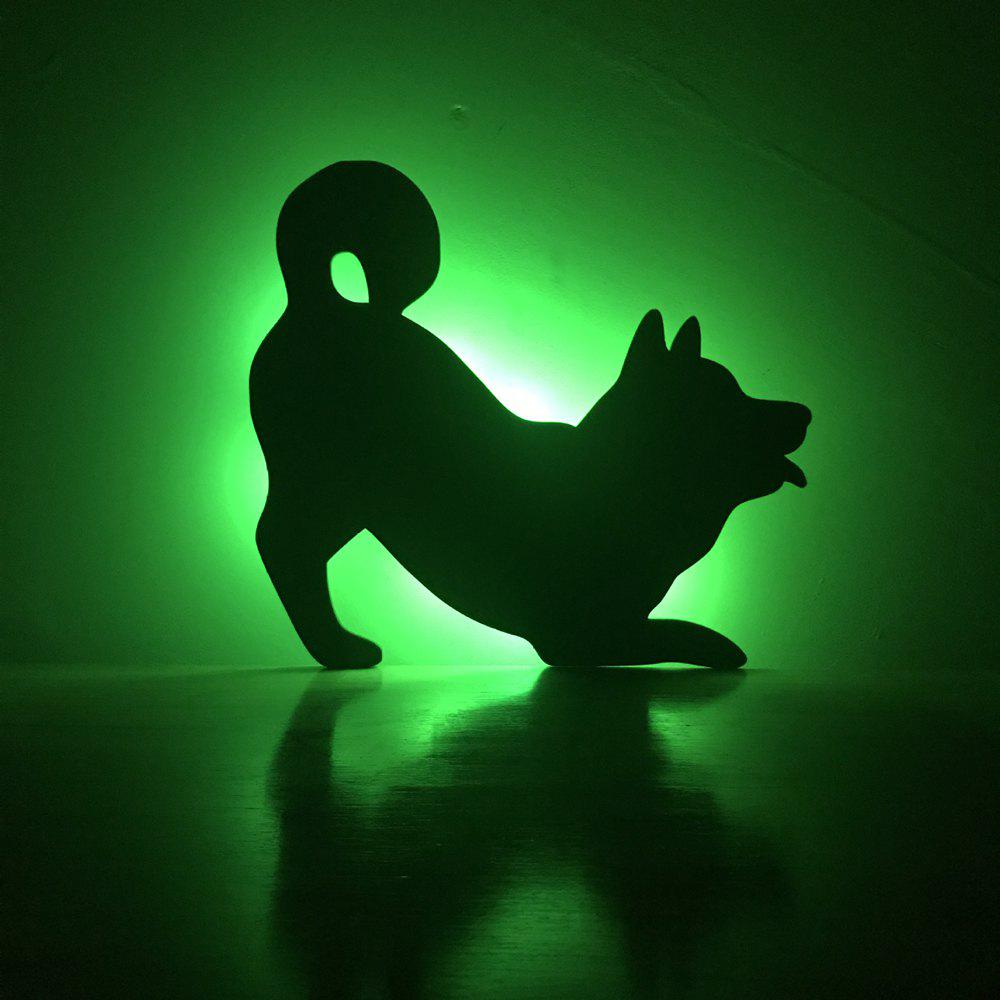 Colorful Remote Dog Shadow Projection Lamp LED  Night Light - BLACK 164X150MM