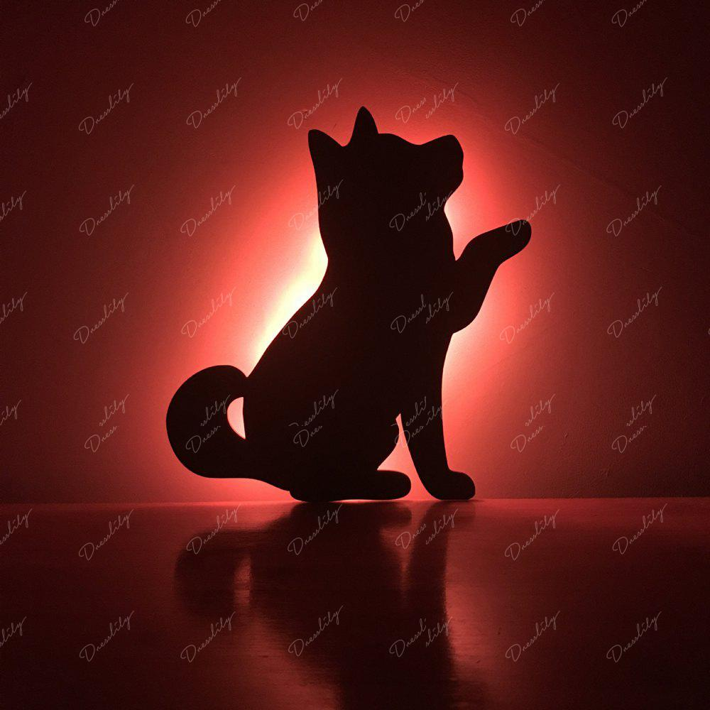 Color Remote Control Beckon Dog Shadow Projection lamp LED Small Night Light - BLACK 157X167MM