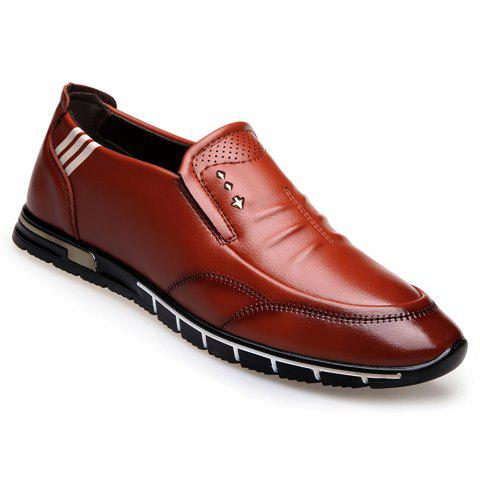 Outdoor Leisure Leather Shoes - BROWN 41