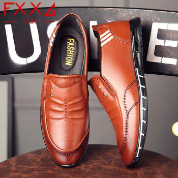Outdoor Leisure Leather Shoes - BROWN 40