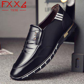 Outdoor Leisure Leather Shoes - BLACK 40