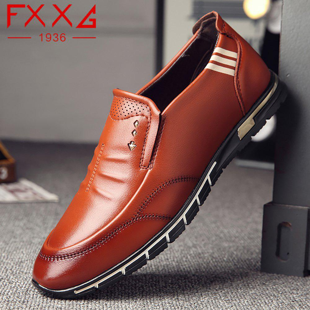 Outdoor Leisure Leather Shoes - BROWN 38