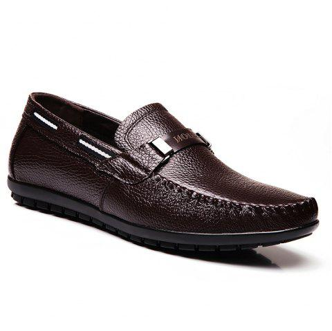 Leather Casual Doug Shoes - BROWN 44