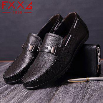 Leather Casual Doug Shoes - BLACK 43