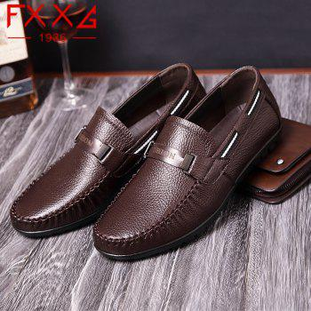 Leather Casual Doug Shoes - BROWN 38