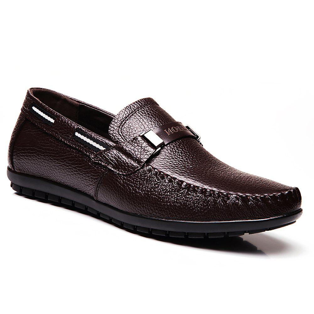 Leather Casual Doug Shoes - BROWN 42