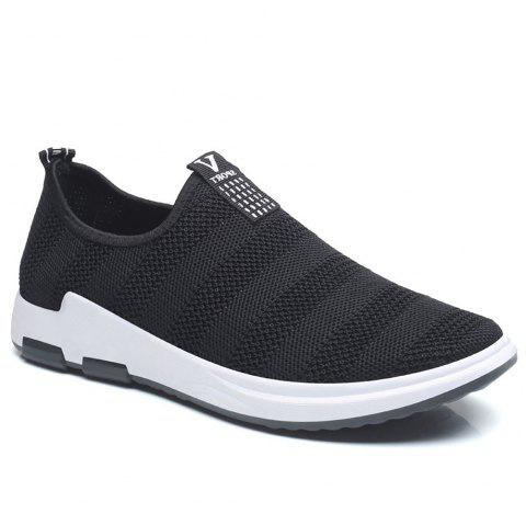 Net Cloth Sports Casual Single Shoes - BLACK 44