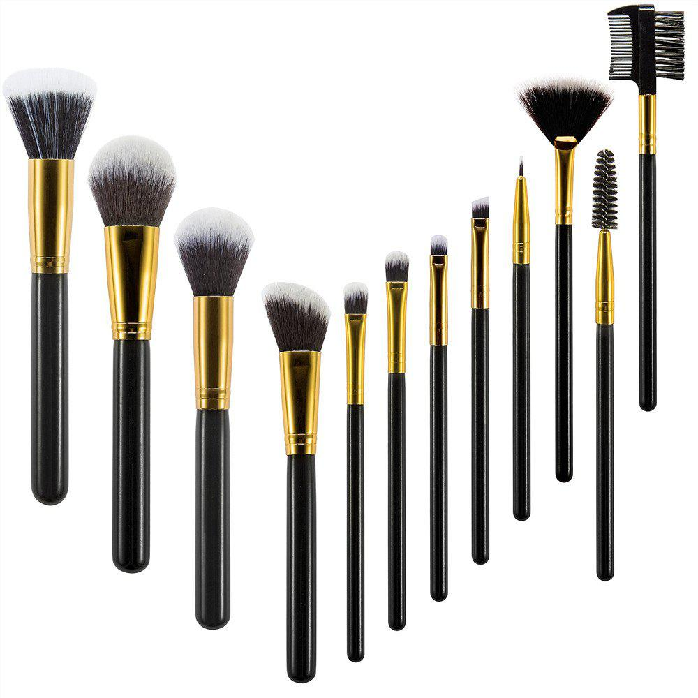 Black Wood Handle Makeup Brushes 12PCS - BLACK 20CM X 3CM X 2.5CM