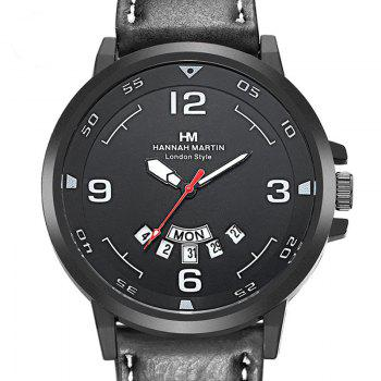 Men Sports Army Leather Band with Calendar Fashion Watch - BLACK 1PC