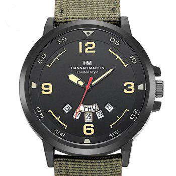 Men Sports Army Leather Band with Calendar Fashion Watch - ARMYGREEN 1PC