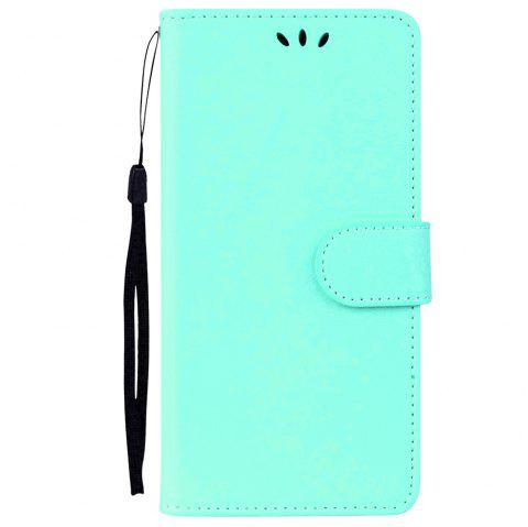 Solid Color Pattern PU Leather Wallet Case for Huawei P10 Lite - LIGHT GREEN