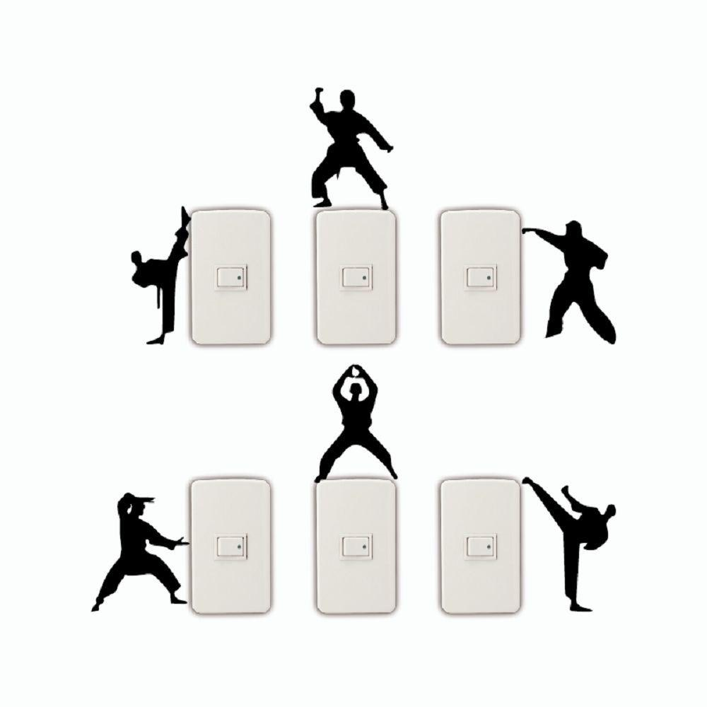 6 Pcs Creative Kongfu Switch Sticker Cartoon Silhouette Vinyl Wall Sticker - BLACK 26 X 30.4 CM