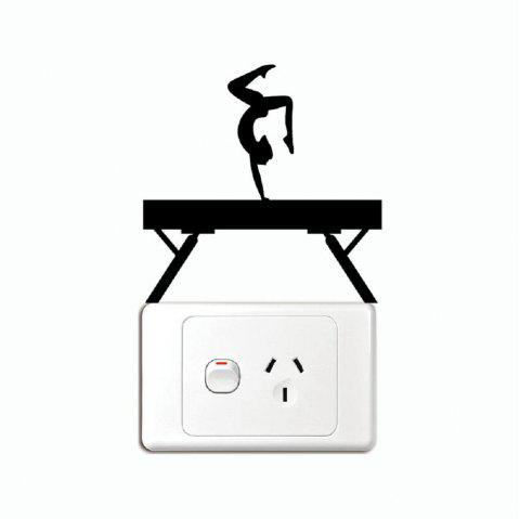 Balance Beam Light Switch Sticker Gymnastics Vinyl Wall Decal for Kids Room Home Decal - BLACK 13 X 13 CM