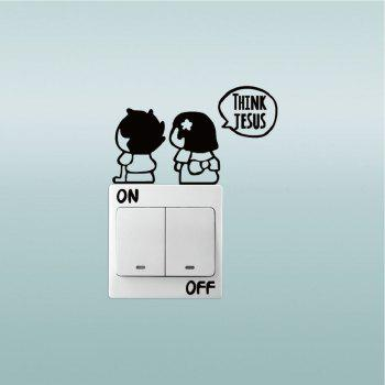 Couples Switch Stickers Cartoon Switch To Save Electricity Home Decorations Wedding Decal - BLACK 6.8 X 11.9 CM