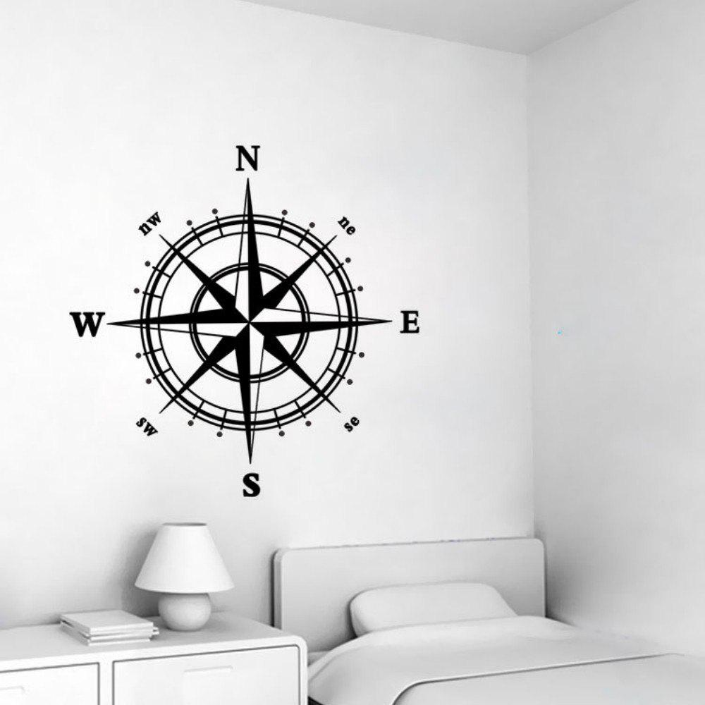 4-DIRECTION Compass Vinyl Wall Sticker for Living Room Decoration - BLACK 58 X 58 CM