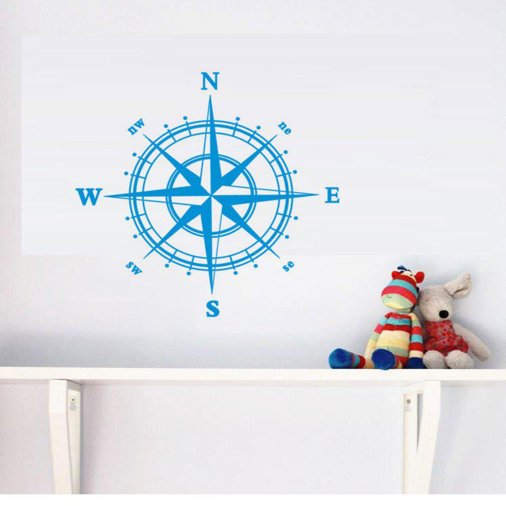 4-DIRECTION Compass Vinyl Wall Sticker for Living Room Decoration - BLUE 58 X 58 CM