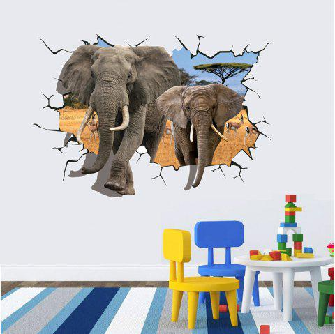 3D Two Elephants Through Wall PVC Sticker Cartoon Elephant Decals for Kids Room - MIXED COLOR 70X100 CM