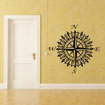 North and South America Map Compass Stickers Home Decor - BLACK 57 X 53CM