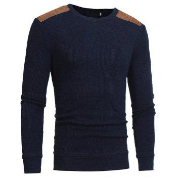 2018 Autumn and Winter New Suede Patch Cloth Design Men Round Neck Casual Slim Knit Sweater - CADETBLUE 3XL