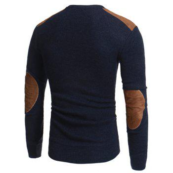 2018 Autumn and Winter New Suede Patch Cloth Design Men Round Neck Casual Slim Knit Sweater - CADETBLUE L
